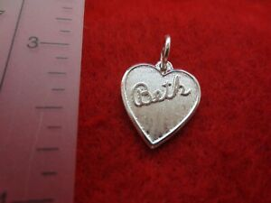 STERLING-SILVER-PLATED-HEART-SHAPED-BRUSHED-BETH-NAME-CHARM-PENDANT