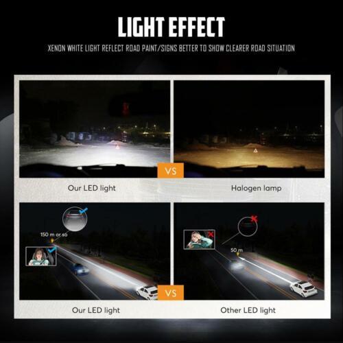 Pair H1 LED Fog Lights Bulbs Headlight Conversion Kits 100W 10000LM 6000K White