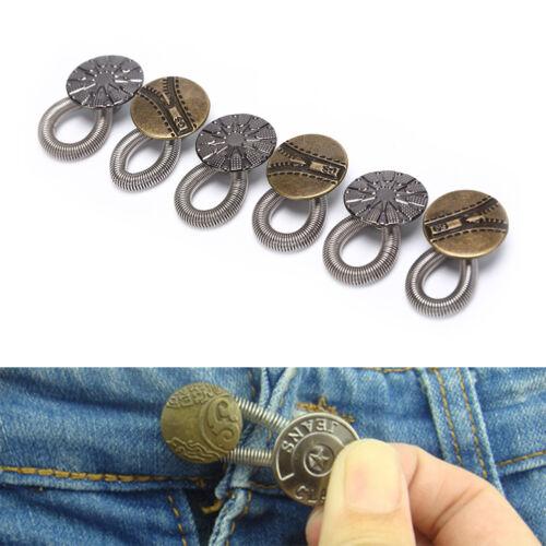 6x Waist Extender Jean Pant Stretch Buttons Instant Fix Metal Elastic Expanders
