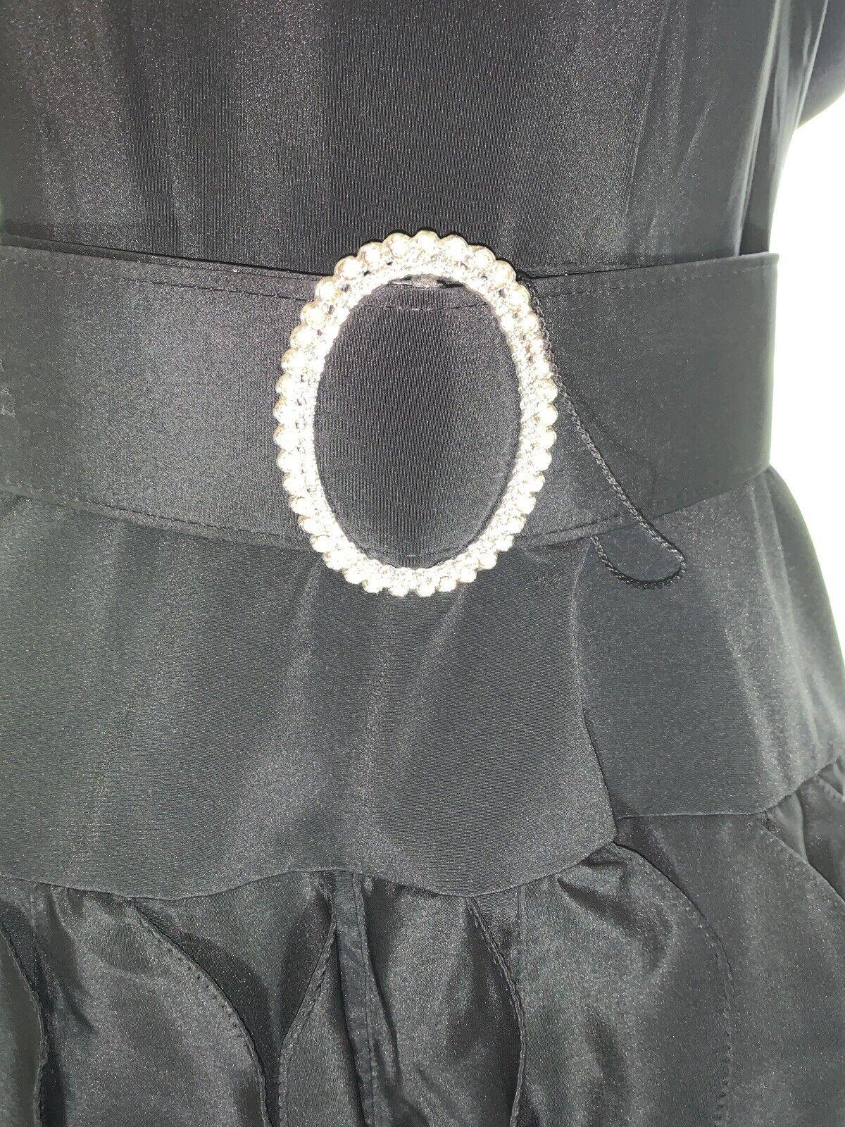 1980's Sexy Little Black Dress Rhinestone BELT RU… - image 5