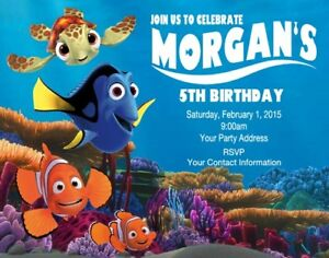 Finding Nemo Dory Birthday Party Invitations Invites Personalized