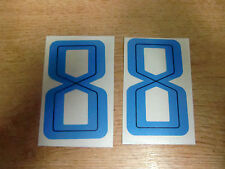 2x GUY MARTIN race number 8 - BLUE Stickers / Decals  - 65mm