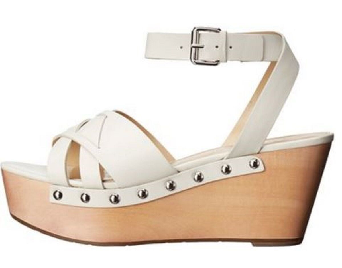 Women's Shoes Marc Fisher CAMILLA Crisscross Sandals Wooden Wedge Wedge Wooden Leather WHITE 398a31