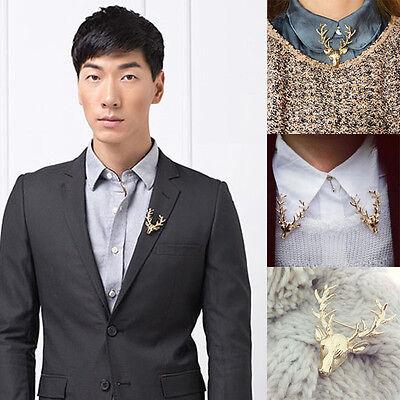 1x Men Women Gold Elk Deer Reindeer Head Neck Clip Collar Brooch Pin Xmas Gift