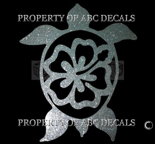 "VRS Hawaiian Hawaii Honu Turtle Hibiscus Round Flower Car Decal Metal 6/"" Sticker"