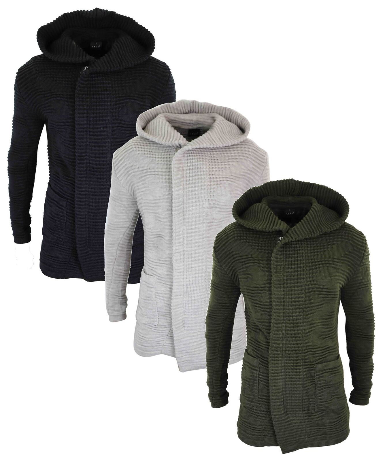 9d47e11c741 Mens Knitted Chunky Long Line Hooded Jumper Zip Cardigan Tailored Fit Casual