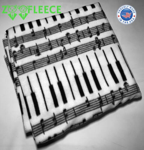 ZooFleece 55X60 Music Notes Piano Song Melody White Blanket Linen Throw Bedding