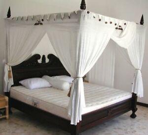 Mahagoni Himmelbett 160x200cm Baldachin Doppelbett Massiv Holz Schlafzimmer Bett Ebay
