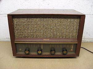 Vintage-Philco-E-976-Table-Top-AM-FM-Tube-Radio-Mahogany-Wood-Used-Parts-Repair
