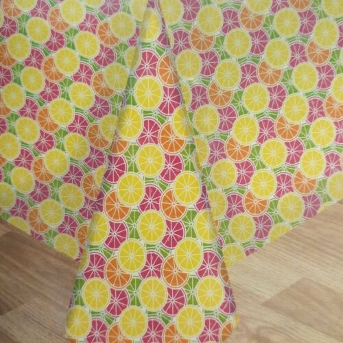 Vinyl Tablecloth Summer Citrus Fruit 60 Inch Round