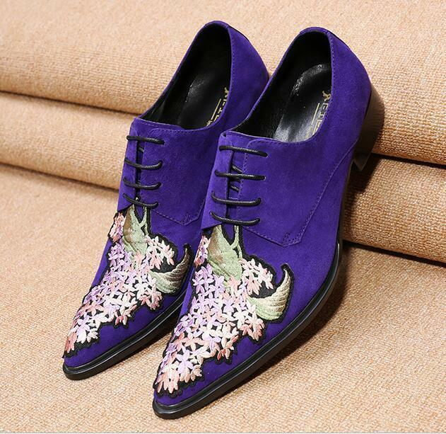 Men's Retro Embroidery Lace Up Pointy Toe Wedding Heel Loafer Formal Dress shoes