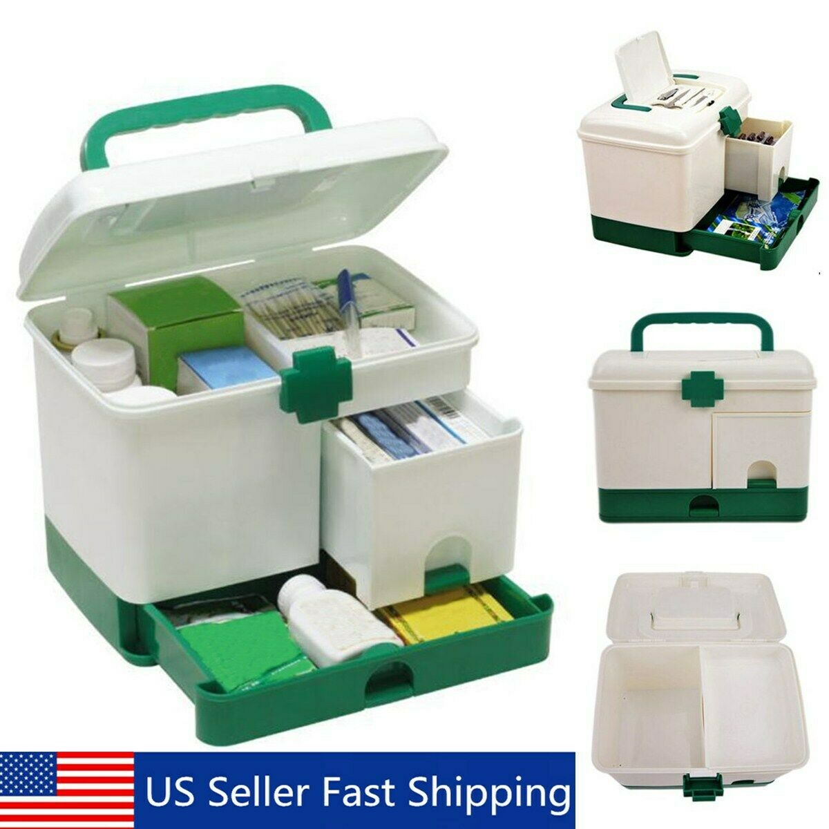 3 Layer Health Box Medicine Chest Handle First Aid Kit Storage Drawer  B