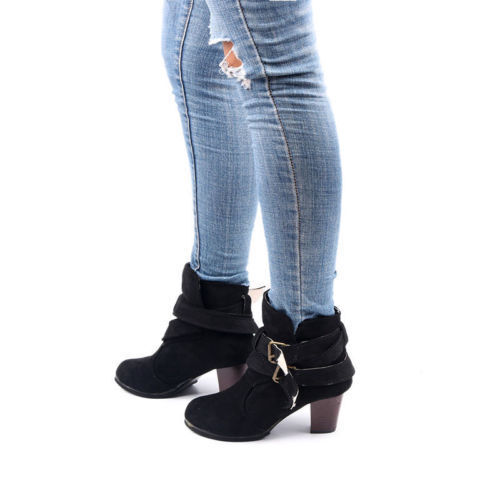 Women Winter Faux Suede Buckles Chunky Low Mid Heel Ankle Boots Shoes Size 5-9.5