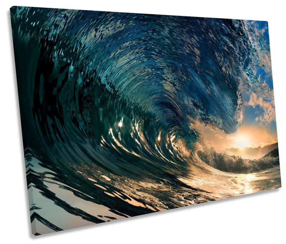 Crashing Beach Wave Surf SINGLE CANVAS WALL ART Print Picture