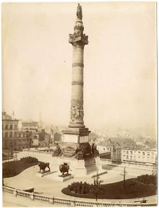 Belgique-Bruxelles-la-colonne-du-Congres-Vintage-albumen-print-Tirage-albu