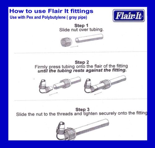 """x 1//2 FPT Use w pex Flair It Swivel 90 RV Marine Mobile Home Plumbing 3//8/"""" pex"""