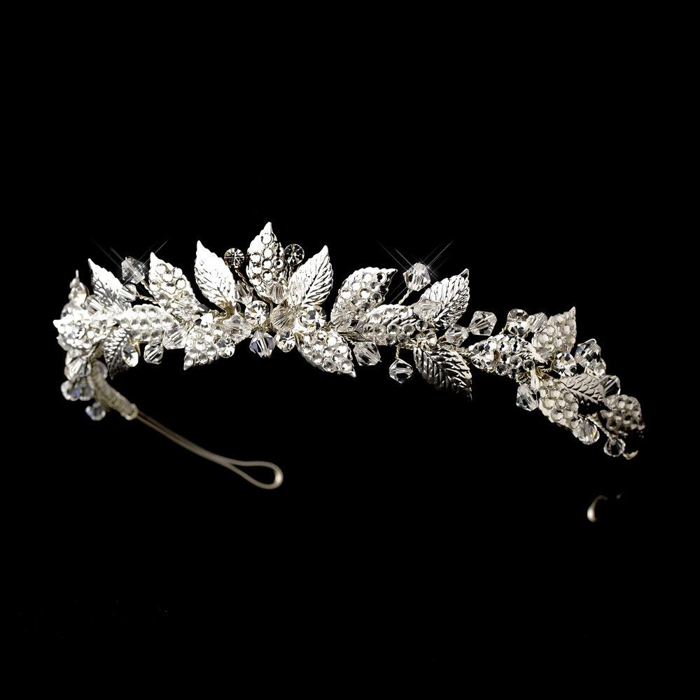 CLOSEOUT Price! Silver Vintage Leaf Crystal Rhinestone Bridal Wedding Prom Tiara