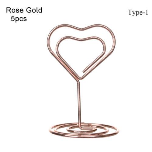 Cœur en forme de losange Photo Clip Table Numéro Support Papier Pince Mariage Décor ~