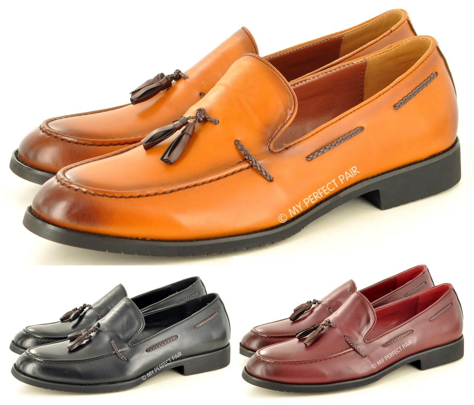 Men's Style Faux Leather Retro Vintage Style Men's Smart Casual Tassel Loafers Shoes 487b45