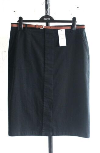 M/&S Classic Sizes 10 12 16 Cotton Skirt with Belt Bnwt Black 24L 27L 30L