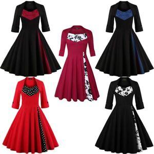 Women-Plus-Size-Short-Sleeve-Silm-Floral-Vintage-Hepburn-Party-Cocktail-Dresses