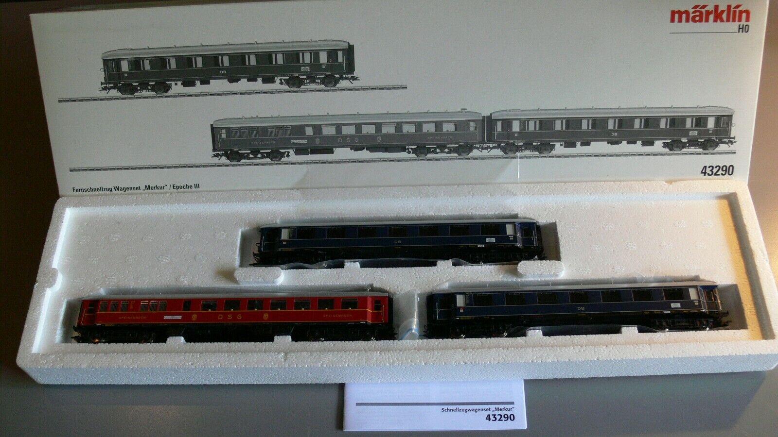 sconto online marklin 43290 a distanza treno rapido Wagenset F 4 4 4  Mercurio  ILLUMINAZIONE INTERNA DB EPOCA 3  in vendita