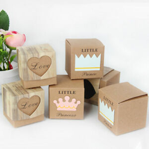 10pcs Small Kraft Paper Box Candy Sweets Gift Box Wedding Party Gift