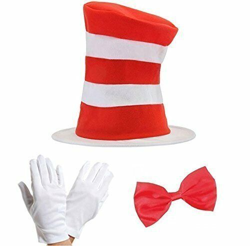 Cat in the Hat Bow Tie /& Gloves Kit Fancy Dress World Book Day Costume Set UK