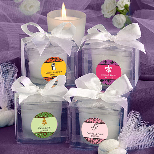 24 Personalized Glass Votive Candles w//Box Birthday Baby Party Wedding Favors