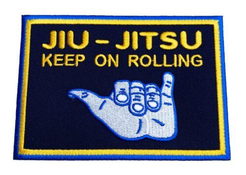 "4.5/"" Jiu Jitsu Patch Keep On Rolling Grappling Iron on Badge BJJ GI Shaka Hand"
