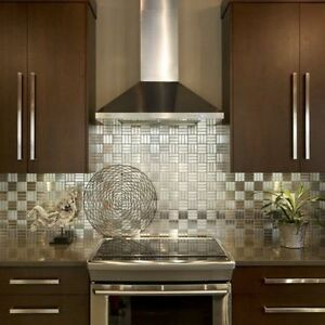 Details About Checkered Squares Stainless Steel Metal Mosaic Tile For Kitchen Backsplash Wall