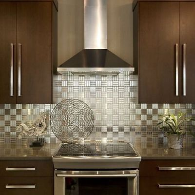Checkered Squares Stainless Steel Metal Mosaic Tile For Kitchen