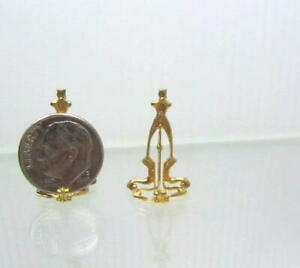 Dollhouse Miniature Decorative Gold Plate Holder