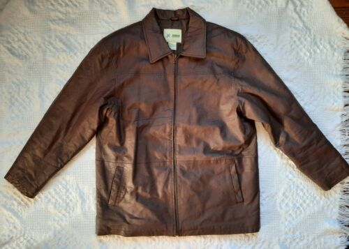 Haband XL Brown Genuine Leather Jacket Full Zip Li