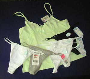 sz-L-Alfani-Camisole-lt-green-5-St-Eve-String-Thong-White-Black-Gray-6-pc-lot