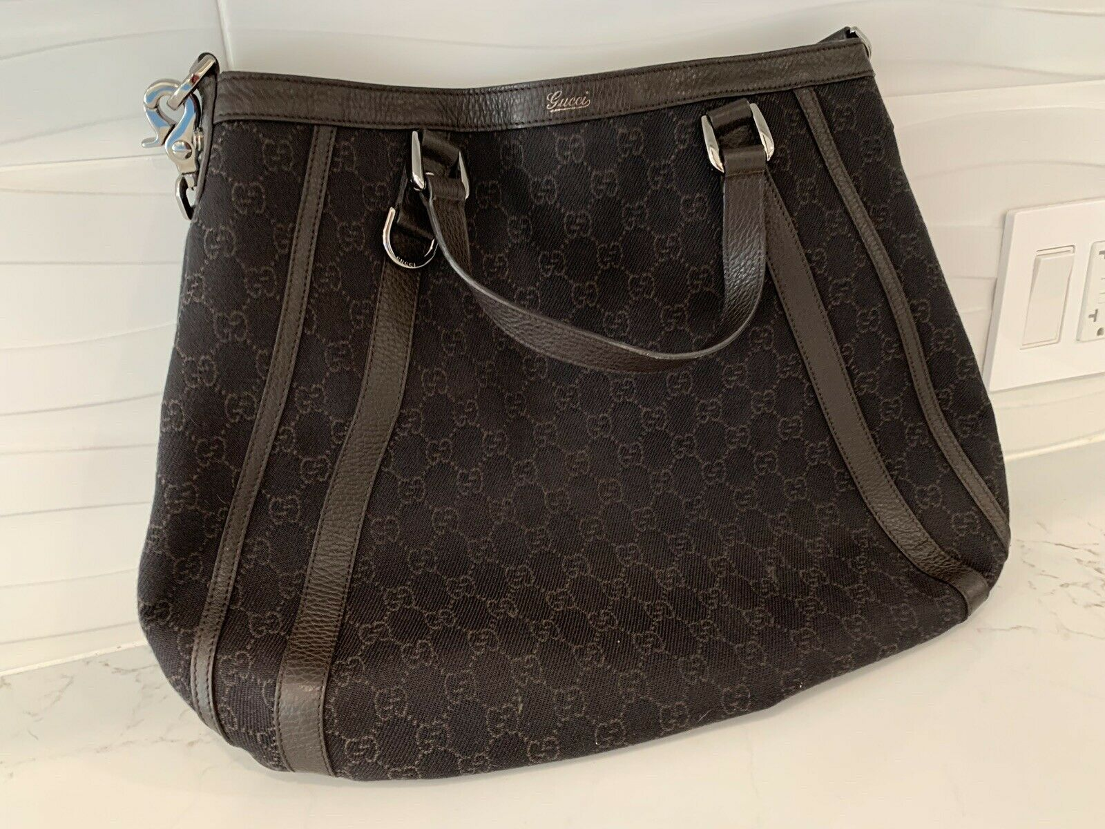 Rare VINTAGE 90s Authentic Gucci Leather Bag For … - image 3