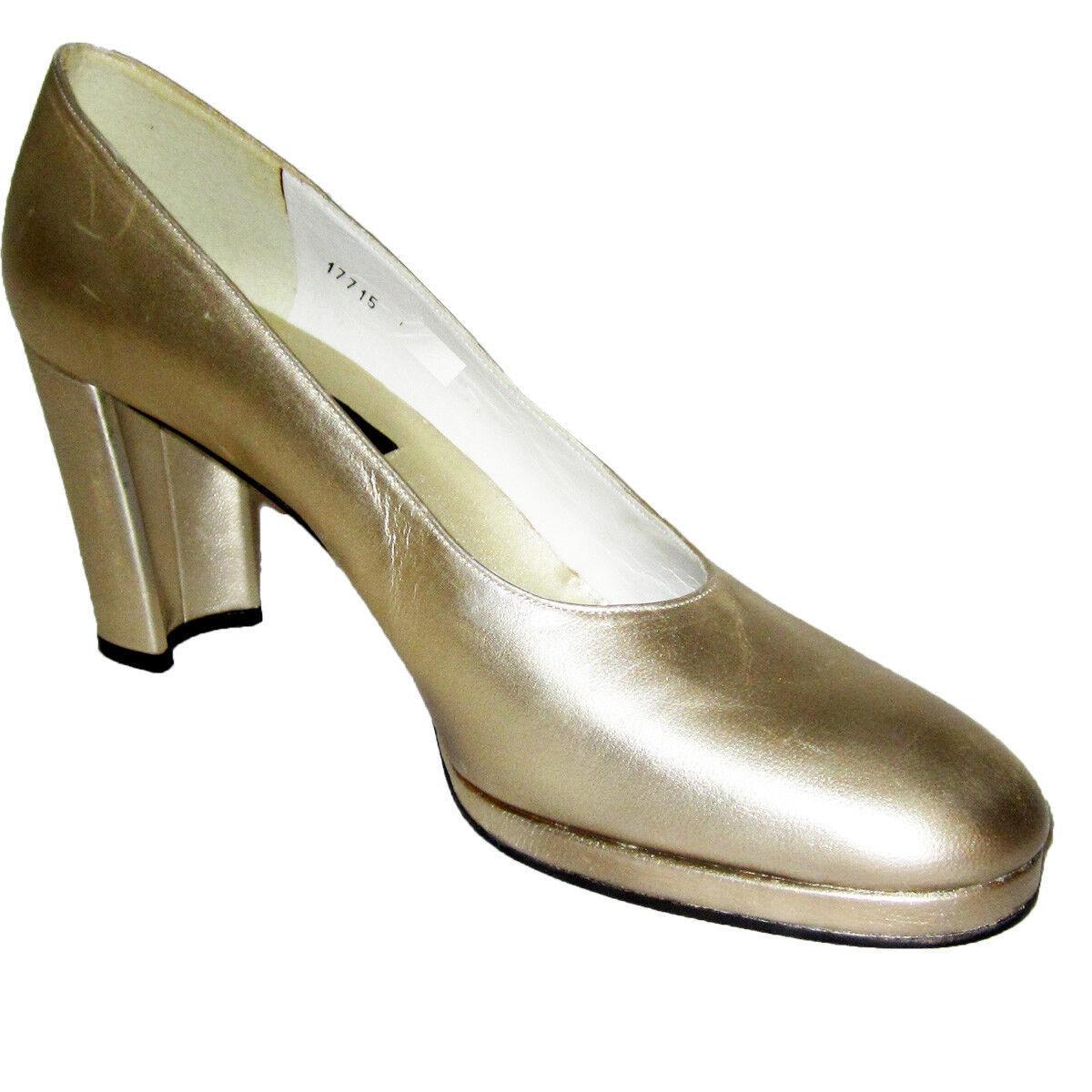New  STUART WEITZMAN gold  Grable  Retro PinUp HEELS 10S Pumps shoes