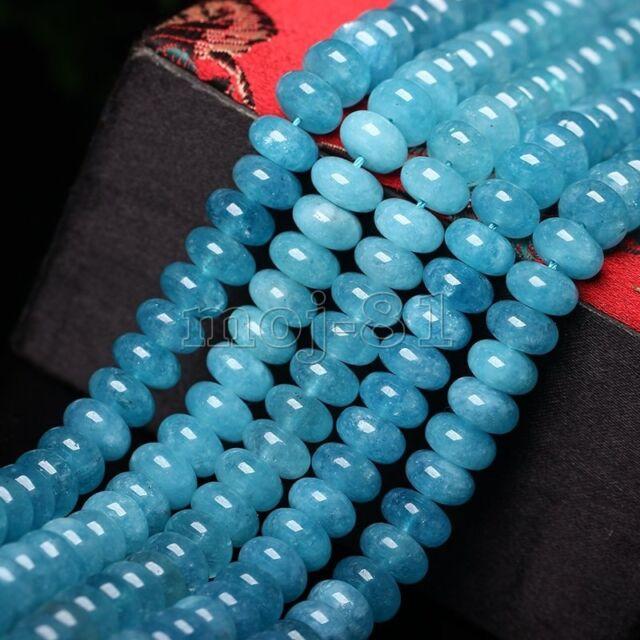 Genuine 5x8mm Natural Aquamarine Rondelle Gemstone Loose Beads 15