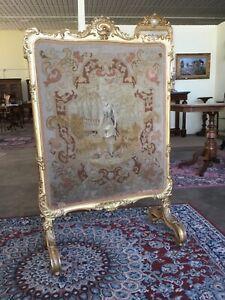 Parafuoco/parascintille Napoleone III in legno dorato e stoffa ricamata- '800