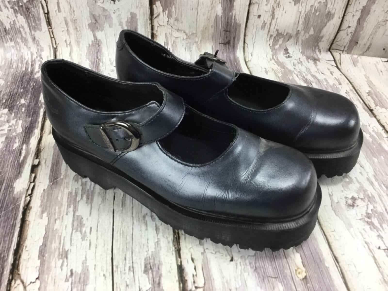 Vintage Grueso K8682 Dr. Doc Doc Doc Martens Mary Janes Para Mujer Reino Unido 8 Negro-Usado En Excelente Estado  ventas en linea