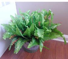 Set of 4 Blooming Boston Bushes Artificial Plants Silk Fern Leaf Grass