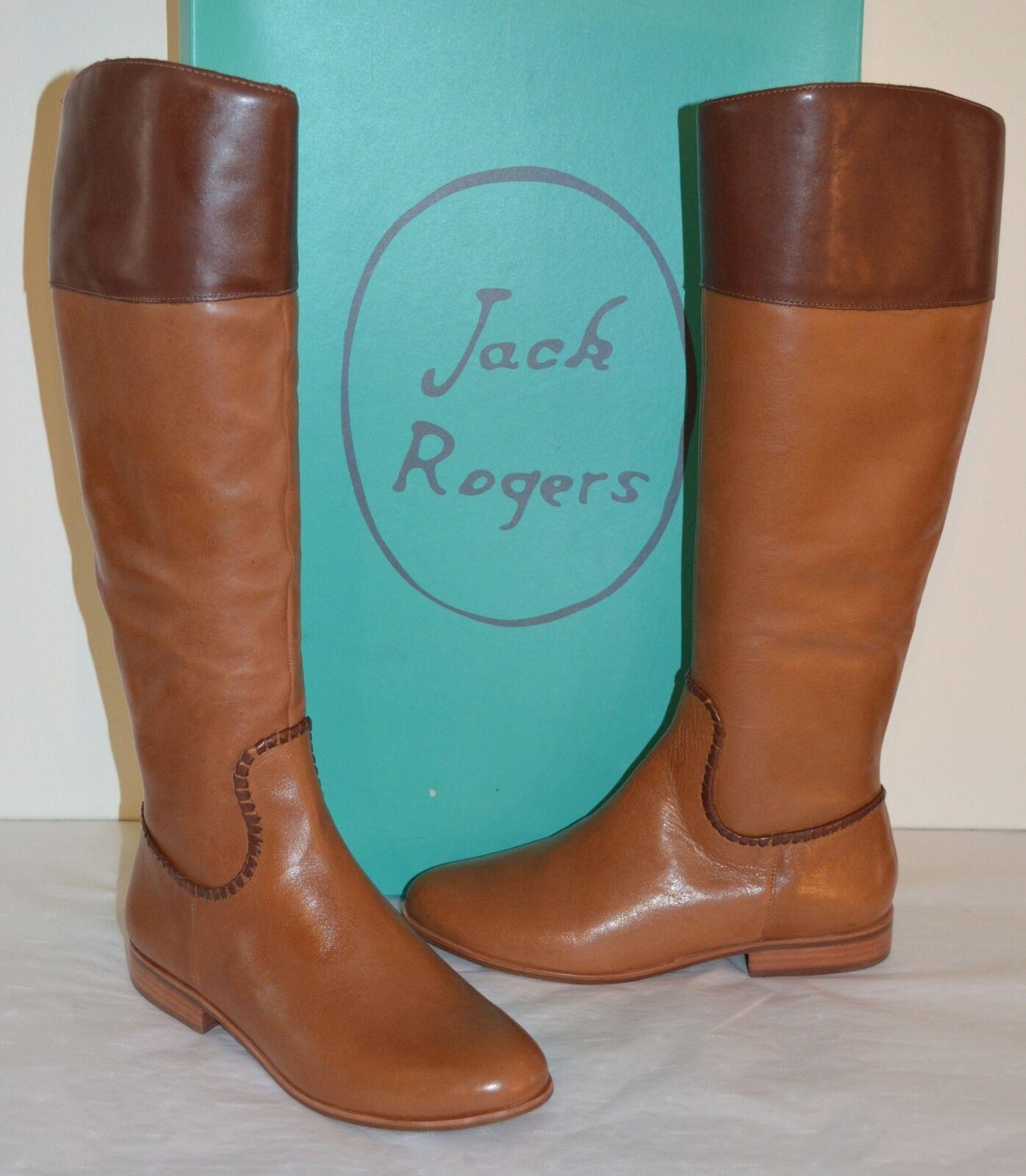 New $298 Jack Rogers Mercer II Oak/Tan/Brown Leather Riding/Tall Boot sz 8.5