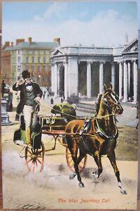 Illus Art Postcard IRISH JAUNTING CAR Dublin Bank of Ireland John Carey O'Connor