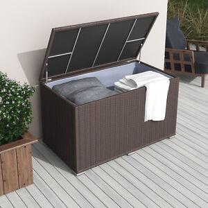 xxl polyrattan kissenbox 950l braun auflagenbox gartenbox gartentruhe auflagen ebay. Black Bedroom Furniture Sets. Home Design Ideas