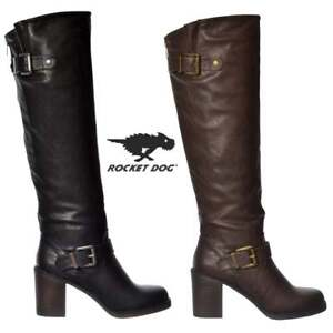 26e8ad92809 Details about WOMENS ROCKET DOG SHAYNA BLACK KNEE HIGH HEELED SIZE WIDE  CALF LADIES BOOTS