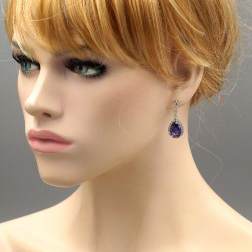 White Gold GP Amethyst  Zirconia CZ Wedding Bridesmaids Drop Dangle Earrings 609