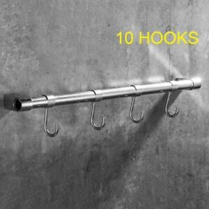 Chrome Hanging Rail for Kitchen Utensils Wall Mounted Rack Storage Tidy /& Hooks