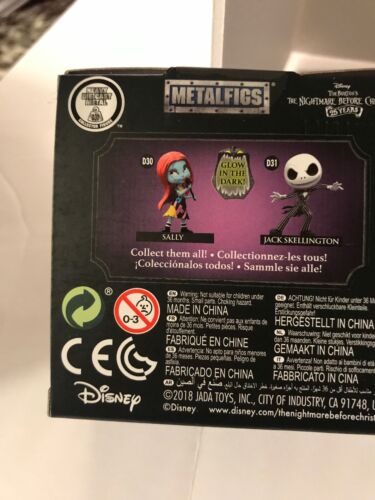 "Nightmare Before Christmas 25 Years 2.5/"" Metalfigs Sally Glow in The Dark New"