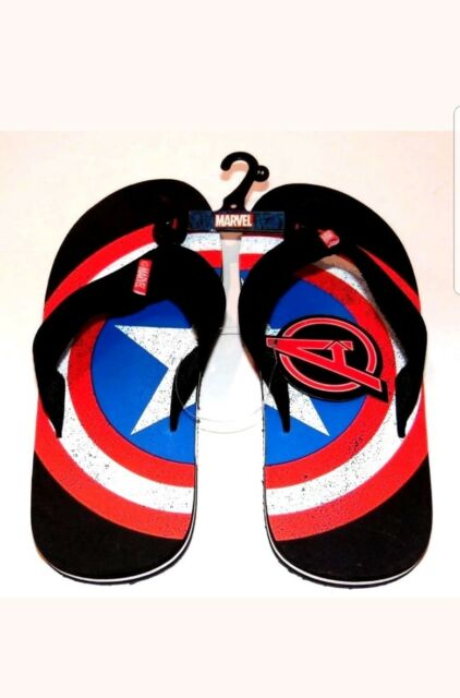 e50880b8c469 Avengers Captain America Shield Marvel Flip Flops Size Male 9-10 New With  Tags