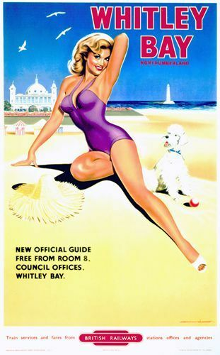Vintage 1950/'s British Railways Whitley Bay Railway Poster A3 A2  Reprint